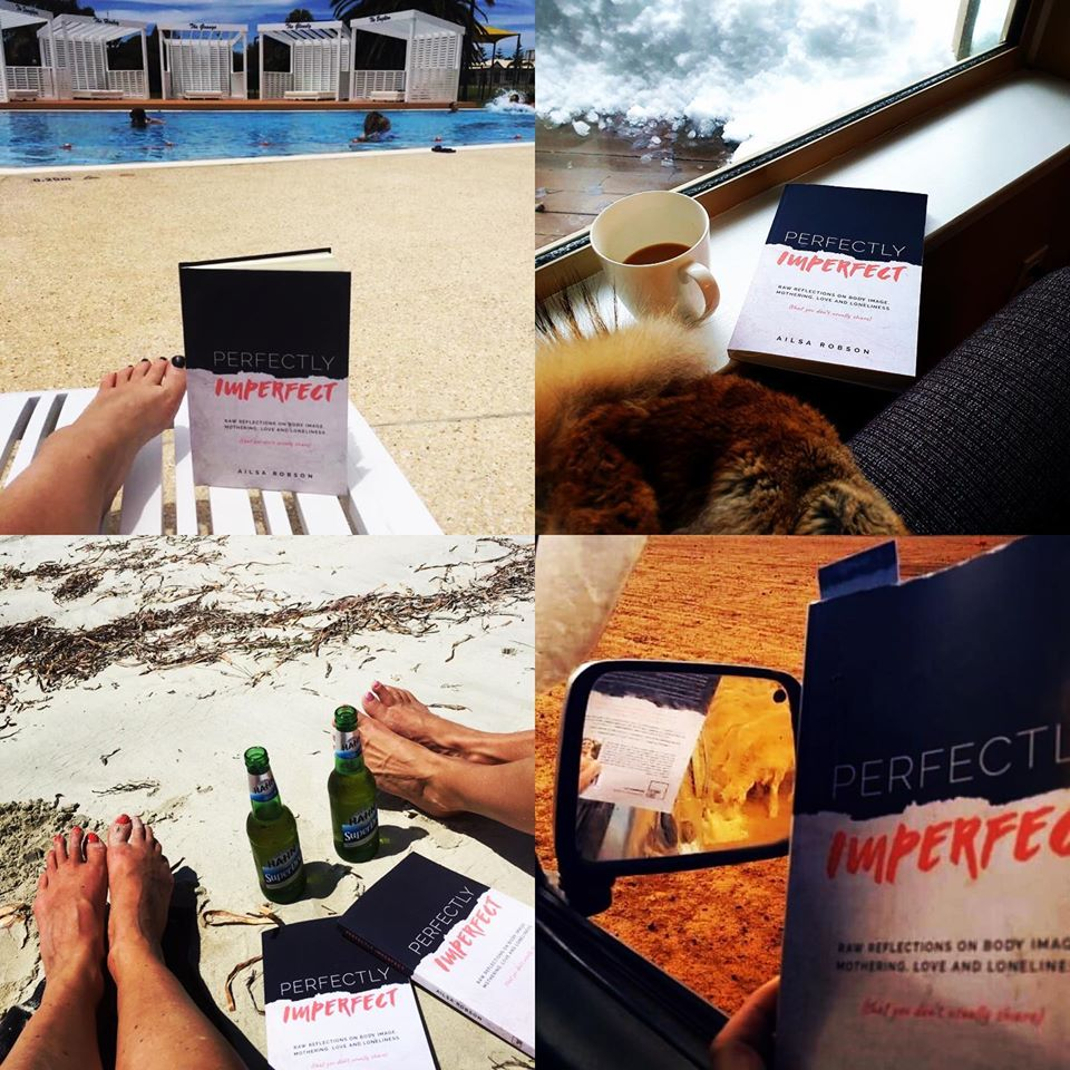 Ailsa's book Perfectly Imperfect is pictured on the beach, at the snow, by a pool and out in a farmer's paddock