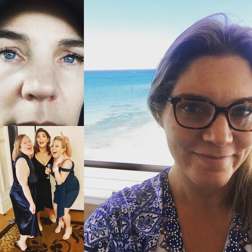 Ailsa in three photos looking teary, excited and dressed up glamorously at a party and relaxed by the ocean. The good, bad and ugly versions of the SAW Australia Awards.